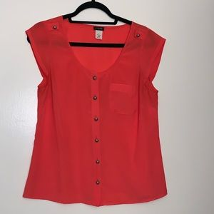 J. Crew coral blouse with silver buttons